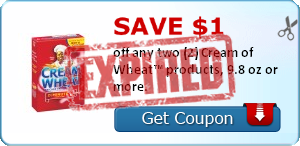 Save $1.00 off any two (2) Cream of Wheat products, 9.8 oz or more.