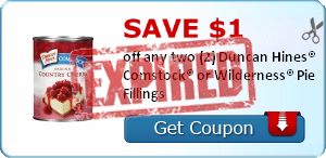 Save $1.00  off any two (2) Duncan Hines® Comstock® or Wilderness® Pie Fillings
