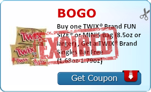 BOGO    Buy one TWIX® Brand FUN SIZE® or MINIS Bag (8.5oz or larger) , Get a TWIX® Brand Singles Bar Free (1.68oz-1.79oz)
