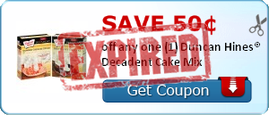 Save 50¢ off any one (1) Duncan Hines® Decadent Cake Mix