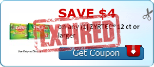 Save $4.00 on any (1) ZYRTEC® 12 ct or larger