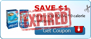 Save $1.00 on any size EQUAL® 0 calorie sweetener