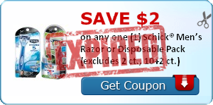 Save $2.00 on any one (1) Schick® Men's Razor or Disposable Pack (excludes 2 ct., 10+2 ct.)