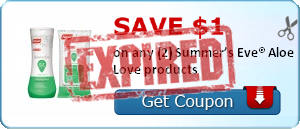 Save $1.00 on any (2) Summer's Eve® Aloe Love products