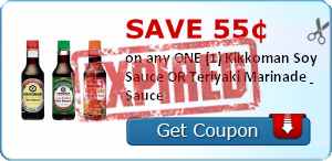 Save 55¢ on any ONE (1) Kikkoman Soy Sauce OR Teriyaki Marinade & Sauce