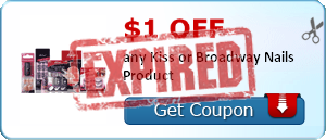 $1.00 off any Kiss or Broadway Nails Product