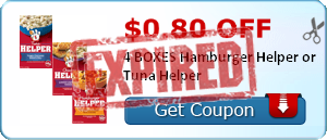 $0.80 off 4 BOXES Hamburger Helper or Tuna Helper