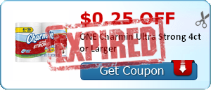 $0.25 off ONE Charmin Ultra Strong 4ct or Larger