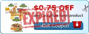 $0.75 off any Cascadian Farm product