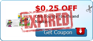 $0.25 off ONE Bounty Towels and Napkins