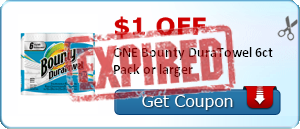 $1.00 off ONE Bounty DuraTowel 6ct Pack or larger