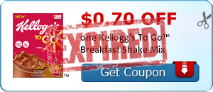 $0.70 off one Kellogg's To Go™ Breakfast Shake Mix