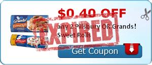 $0.40 off any 2 Pillsbury OR Grands! Sweet Rolls