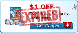 $1.00 off TWO Pillsbury Refrigerated Cookie Dough