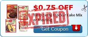 $0.75 off TWO Betty Crocker Cake Mix or Frosting