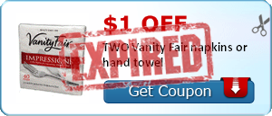 $1.00 off TWO Vanity Fair napkins or hand towel