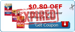 $0.80 off FOUR BOXES any flavor Hamburger Helper