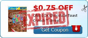 $0.75 off ONE BOX Chocolate Toast Crunch™ cereal