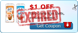 $1.00 off TWO Glade Wax Melts, excludes warmer