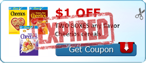 $1.00 off TWO BOXES any flavor Cheerios cereals