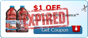 $1.00 off any two Healthy Balance™ juice drinks