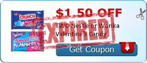 $1.50 off TWO Nestle or Wonka Valentine's Candy