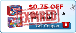 $0.75 off Wonka or Nestle Crunch Candy & Card Kits