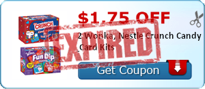 $1.75 off 2 Wonka, Nestle Crunch Candy & Card Kits