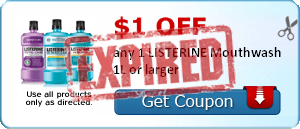 $1.00 off any 1 LISTERINE Mouthwash 1L or larger