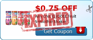 $0.75 off Any ONE (1) DOLE Fruit Smoothie Shaker