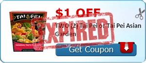$1.00 off TWO (2) Tai Pei or Tai Pei Asian Garden