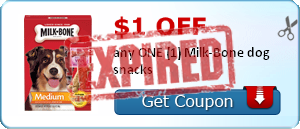 $1.00 off any ONE (1) Milk-Bone dog snacks