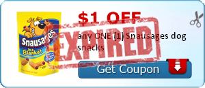 $1.00 off any ONE (1) Snausages dog snacks