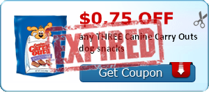 $0.75 off any THREE Canine Carry Outs dog snacks