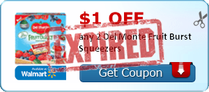 $1.00 off any 2 Del Monte Fruit Burst Squeezers