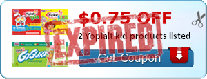 $0.75 off 2 Yoplait kid products listed