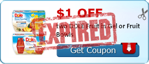 $1.00 off two DOLE Fruit in Gel or Fruit Bowls