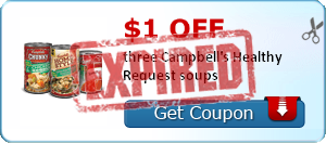 $1.00 off three Campbell's Healthy Request soups