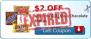 $2.00 off any THREE (3) Mars Chocolate Brands