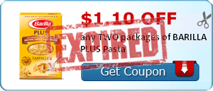 $1.10 off any TWO packages of BARILLA PLUS Pasta
