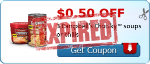 $0.50 off 3 Campbell's Chunky™ soups or chilis