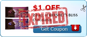 $1.00 off 2 bags of HERSHEY'S BLISS Chocolates