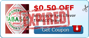 $0.50 off any pepper sauce flavor TABASCO brand