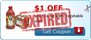 $1.00 off any two V8 100% vegetable juice