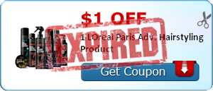 $1.00 off 1 LOreal Paris Adv. Hairstyling Product