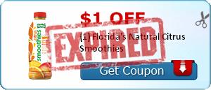 $1.00 off (1) Florida's Natural Citrus Smoothies