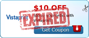 $10.00 off $50 on your order with Vistaprint