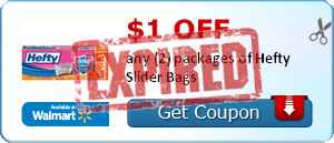 $1.00 off any (2) packages of Hefty Slider Bags