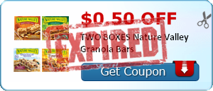 $0.50 off TWO BOXES Nature Valley Granola Bars