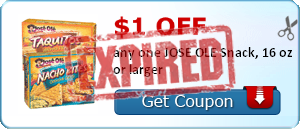$1.00 off any one JOSE OLE Snack, 16 oz or larger